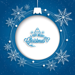 Christmas holiday background with blank ball decoration on blue