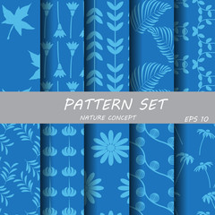 Blue and Blue nature pattern set