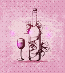 Bottle of wine on a pink background