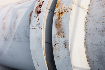 Close up of the coupling of the metal pipeline