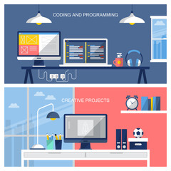 Flat design vector illustration of home office