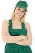 Weiblicher Gärtner in Arbeitskleidung