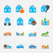 Bright flat insurance icons vector set - 71043860