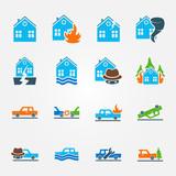 Bright flat insurance icons vector set