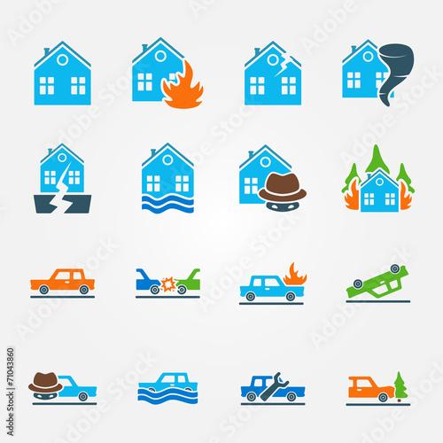 Bright flat insurance icons vector set - 71043860