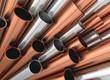 canvas print picture - Aluminium Stahl Kupfer Rohre Profile aufsteigend