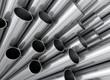 Leinwanddruck Bild - Aluminium Stahl Kupfer Rohre Profile aufsteigend