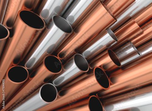canvas print picture Aluminium Stahl Kupfer Rohre Profile aufsteigend