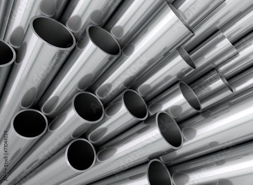 Leinwanddruck Bild Aluminium Stahl Kupfer Rohre Profile aufsteigend