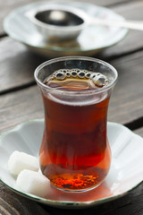 Cup of hot black turkish tea