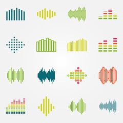 Bright music soundwave or equalizer icons set