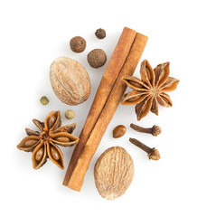cinnamon sticks, anise star and nutmeg