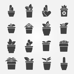 Houseplant icons set