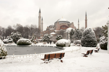 Hagia Sophia Museum at Snowy Winter