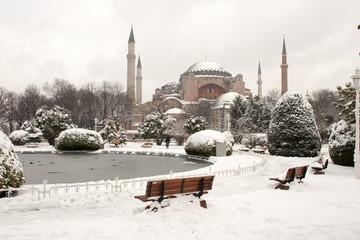 Hagia Sophia Museum at Snowy Winter