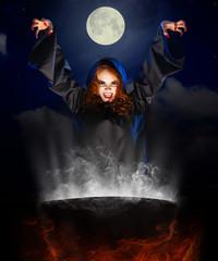 Witch with cauldron on night sky background