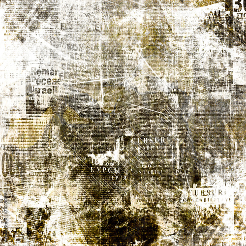 Spoed canvasdoek 2cm dik Retro Grunge abstract newspaper background for design with old torn po