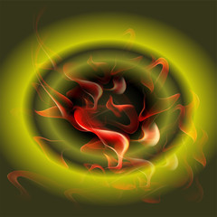 Abstract burning fire circle top view green background