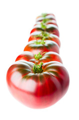 Row of ripe tomatoes on white background