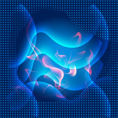 Abstract blue curves fire background