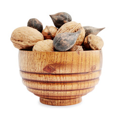 Nuts in a wooden bowl