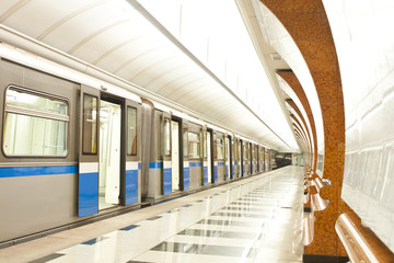 Metro train at subway station
