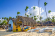 Kayaks, sailboats and catamarans for rent on Caribbean beach