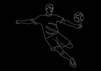 young athletic male soccer player line art