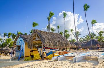 Kayaks, sailboats and catamarans for rent on Caribbean beach