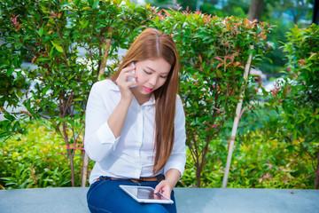 Horizontal view of businesswoman talking on phone
