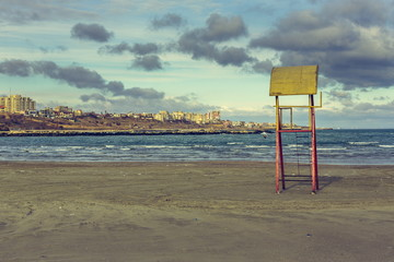 Old abandoned lifeguard tower, Black Sea, Constanta, Romania