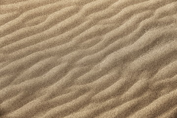 Golden fine grain beach sand wavy texture. Beach sand backdrop.