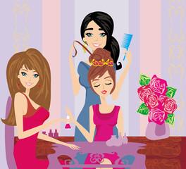 Vector illustration of the beautiful woman in beauty salon