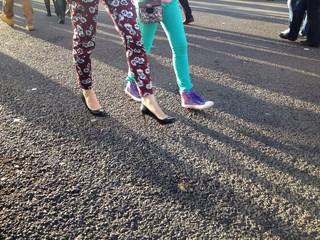 fashionable girls walking