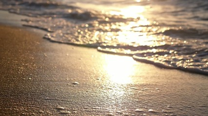 Shiny Sea Wave on Golden Beach Sand in Sunset. Slow Motion.