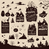 Collection of silhouettes and banners for Halloween poster