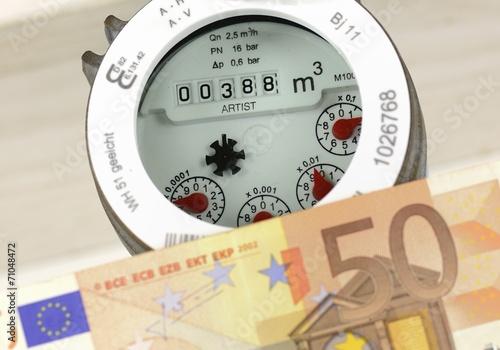Leinwanddruck Bild Wasserzähler Wasserkosten