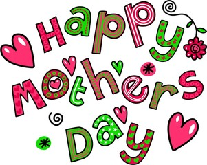Happy Mothers Day Cartoon Doodle Text