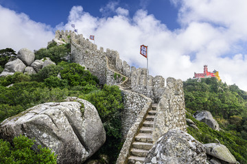 Moorish Castle of Sintra, Portugal with Pena Castle in the Back