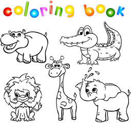 animals wild set first coloring book
