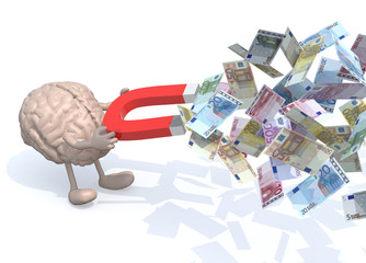 brain with arms, legs and magnet on hands, catch many euro bankn