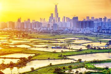 sunset in hong kong countryside