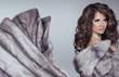 Beautiful brunette woman in mink fur coat. Fashion Beauty girl m