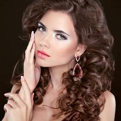 Beauty girl portrait brunette girl model with care skin, profess