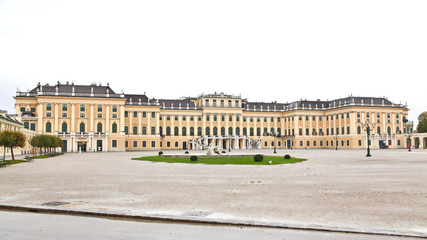 View from main entrance of Schönbrunn Palace in Vienna, Austria