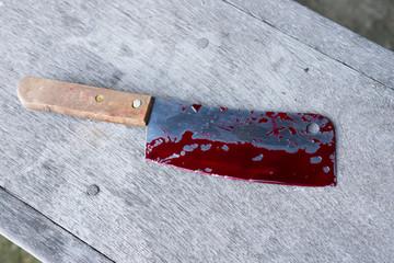 evidence marker with blood splatter