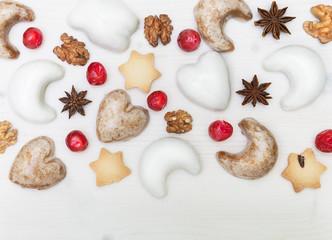 Christmas cakes on white wood