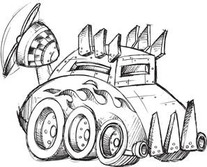 Armored Car Vector Sketch Illustration Art