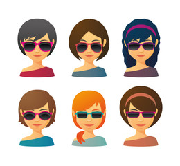 Female avatars with sunglasses