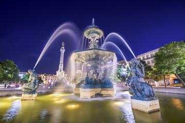 Rossio Square Fountain of Lisbon, Portugal